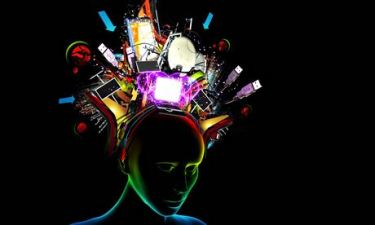 Woman with various technology items coming from her head